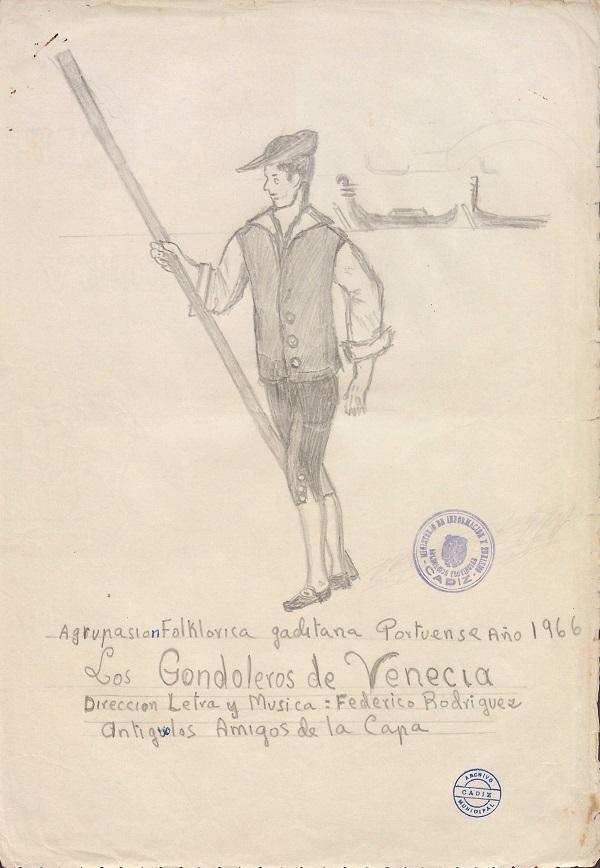 Los Gondoleros de Venecia - Boceto