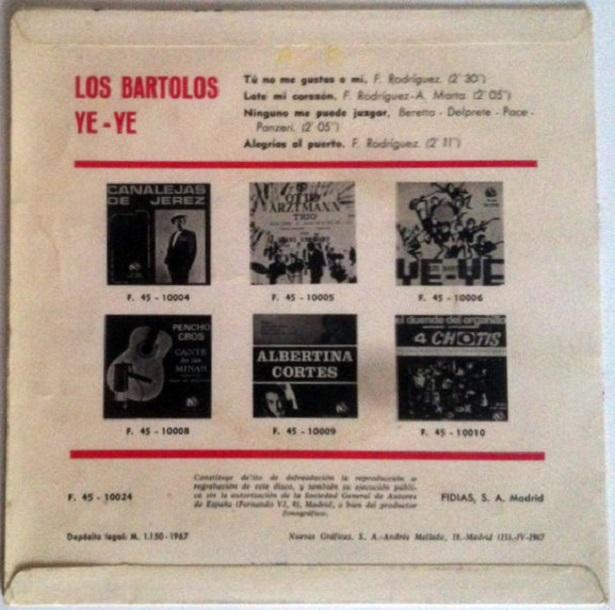 Los Bartolos Ye - Ye - Contra - Portada - Disco 1967