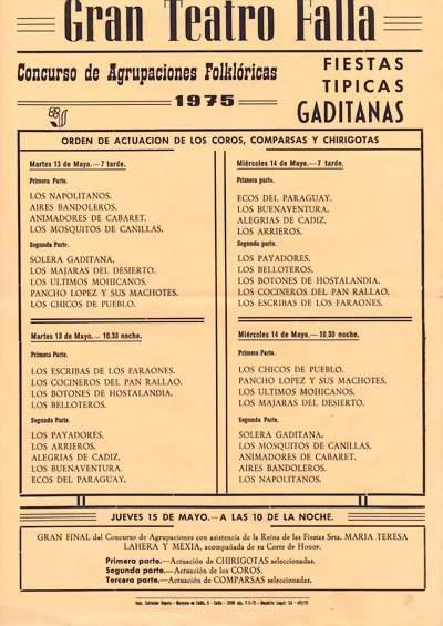 Orden de Actuación de COAC del Gran Teatro Falla 1975