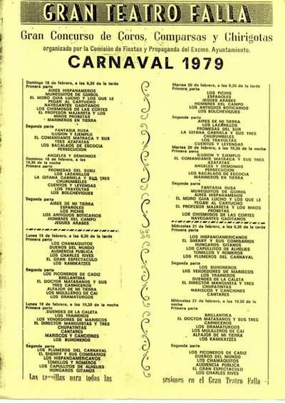 Orden de Actuación del COAC del Gran Teatro Falla 1979