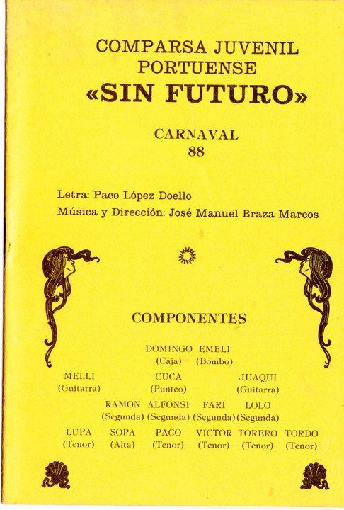 Sin Futuro - Portada del Cancionero