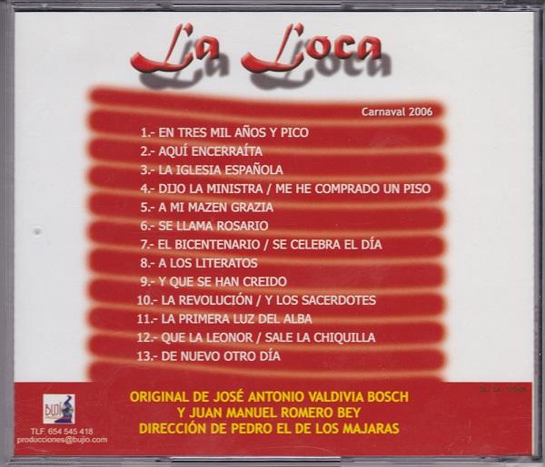 La Loca - Contra-portada CD