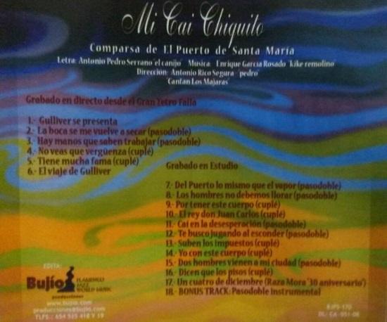 Mi Cai Chiquito - Contra - Portada CD