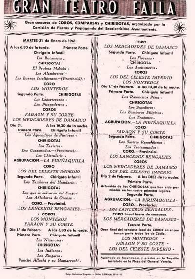 Orden de Actuación del COAC del Gran Teatro Falla - 1961.