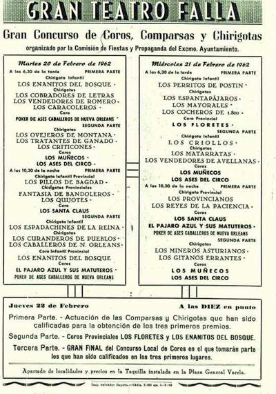 Orden de Actuación del COAC del Gran Teatro Falla - 1962.