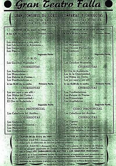 Orden de Actuación del COAC del Gran Teatro Falla - 1964.