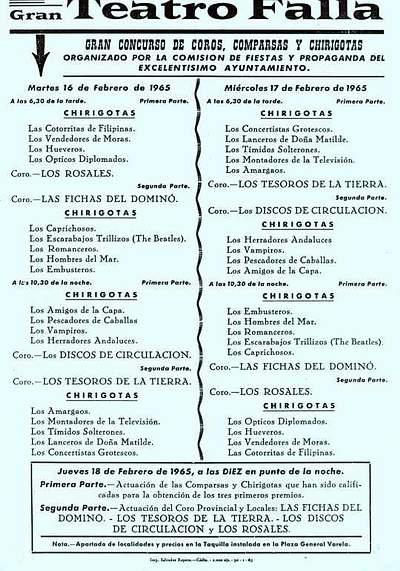 Orden de Actuación del COAC del Gran Teatro Falla - 1965.