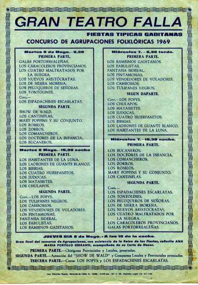 Orden de Actuación del Gran Teatro Falla 1969.