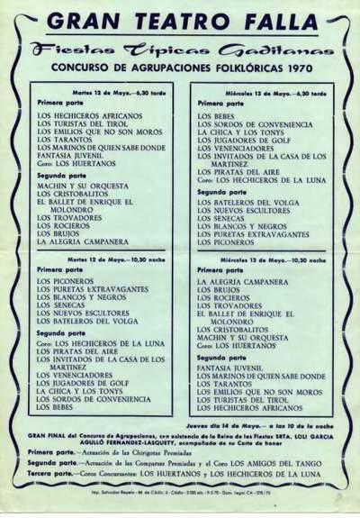 Orden de Actuación del COAC del Gran Teatro Falla 1970