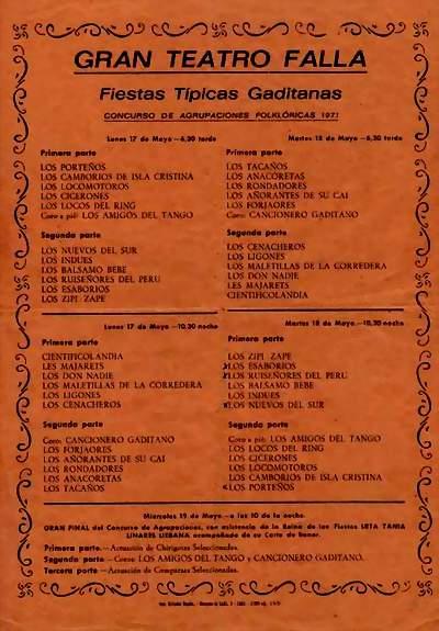 Orden de Actuación del COAC del Gran Teatro Falla 1971