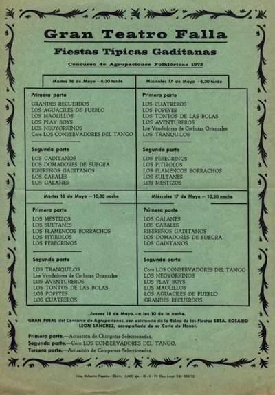 Orden de Actuación del COAC del Gran Teatro Falla 1972.
