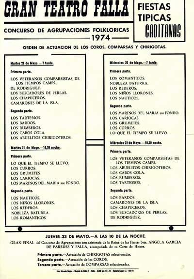 Orden de Actuación del COAC del Gran Teatro Falla 1974