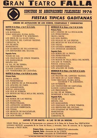 Orden de Actuación del Gran Teatro Falla 1976