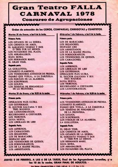 Orden de Actuación del COAC del Gran Teatro Falla 1978