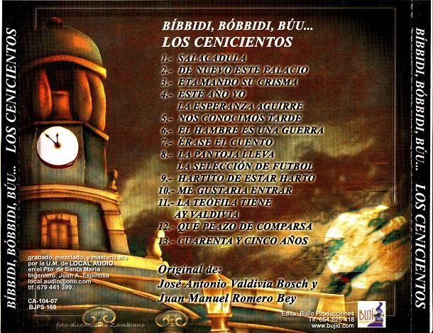 Bibbidi Bóbidi Búu, los Cenicientos - Contra Portada CD