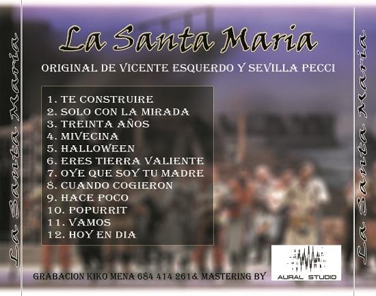 CD de La Santa María - Contra portada