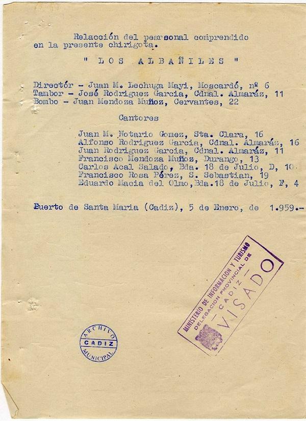 Los Albañiles - Inscripción