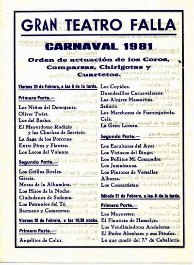 Orden de Actuación del COAC del Gran Teatro Falla 1981