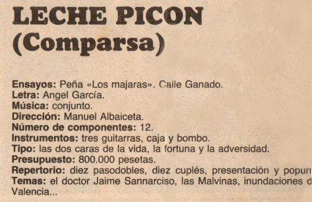 Leche y Picón - Datos