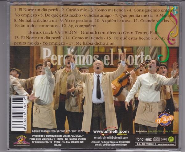 Perdimos el Norte - Contra-portada del CD