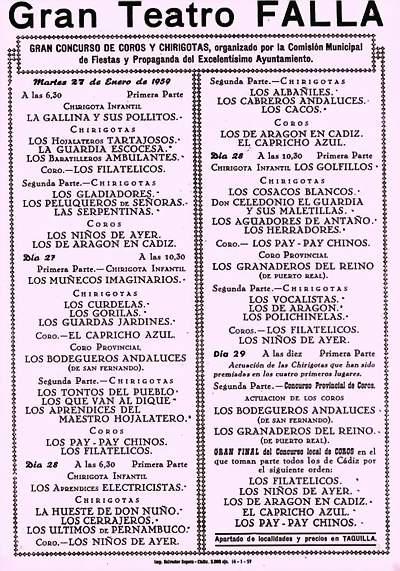 Orden de Actuación de COAC del Gran Teatro Falla - 1959.