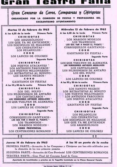 Orden de Actuación del COAC del Gran Teatro Falla - 1963.