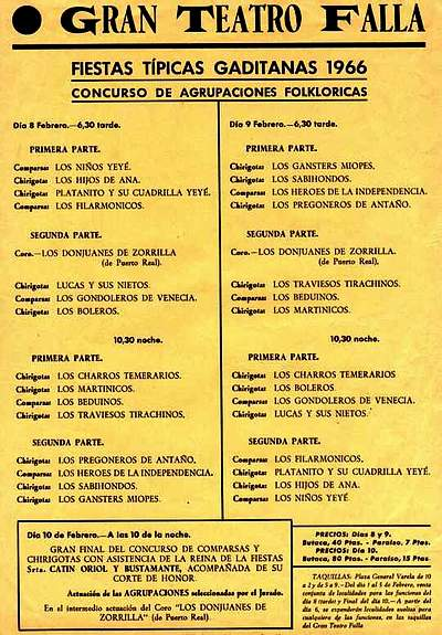 Orden de Actuación del COAC del Gran Teatro Falla - 1966.